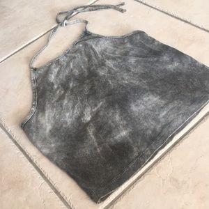Brandy Melville grey faded tie dye halter top